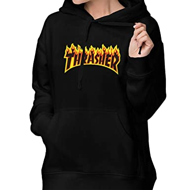 af0f31554341 Amazon.com  Thrasher Magazine Women s Lone Sleeve Hoodies Sweatshirt  Fashion Graphic Pullover With Pocket  Clothing