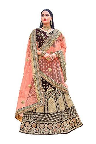 Da Facioun Femmes Indiennes Concepteur Partywear Ethniques Traditionnels Choli Lehenga Marron.