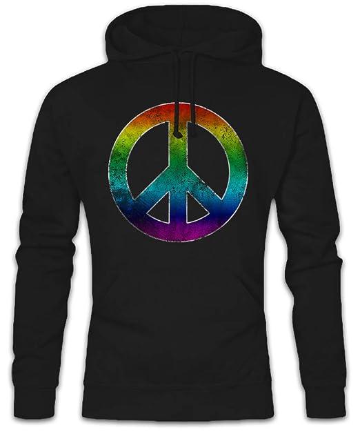 Rainbow Peace Symbol Hoodie Sudadera con Capucha Sweatshirt – arcoíris Paz Sign Logo Hippie 60s Cultur