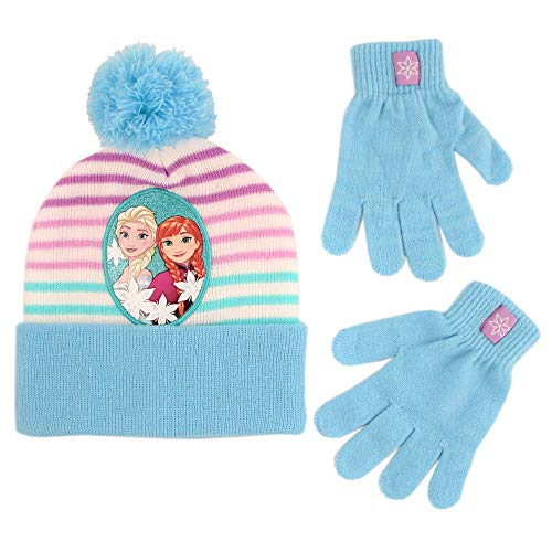 Disney Girls Little Frozen Elsa and Anna Beanie Hat and Gloves Cold Weather Set, blue/white, Age 4-7