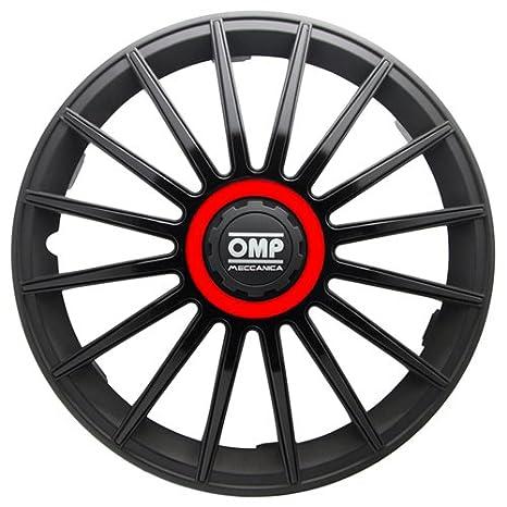"OMP OMP1318 Tapacubos Formula, Negro/Rojo, Set de 4, 13"""