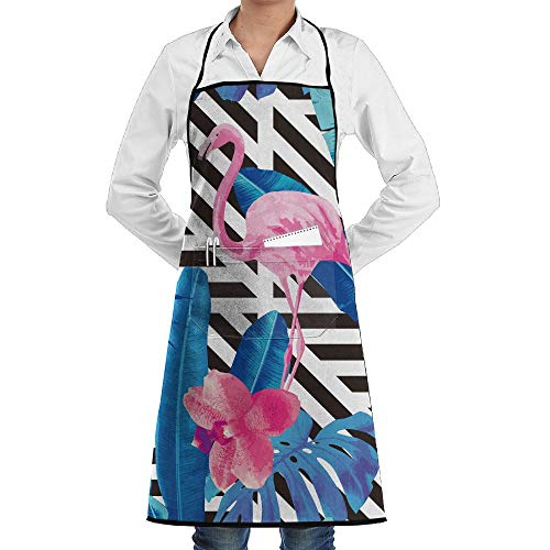 LOGENLIKE Flamingos Kitchen Aprons, Adjustable Classic Barbecue Apron Baker Restaurant Black Bib Apron With Pockets For Men And Women