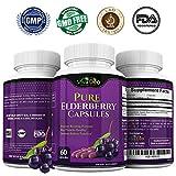 VIVA DEO Pure Elderberry Capsules – FDA Lab Tested, Fast Acting Sambucas Nigra – 60 Black Elderberry Capsules – 1150mg Elderberry Fruit Extract Per Serving – 575mg Per Capsule
