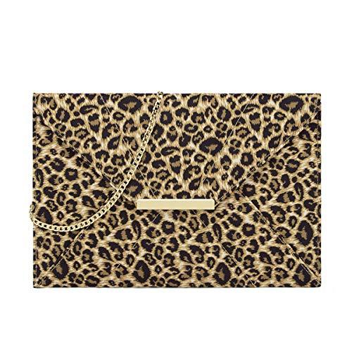 Anna Smith Bolso de noche formal con estampado de leopardo para mujer Patrón animal premium Marrón con compartimentos Forma de sobre de viaje Retro Correa de cadena de oro extraíble Precioso
