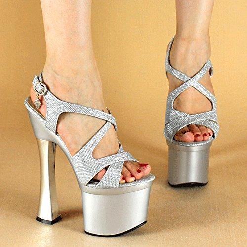 moda per di di sexy sfere temperamento di banchetti 40 La argento e 35 dita tacchi UE EU parti alti alti tacchi sandali YMFIE nozze A7q5wx