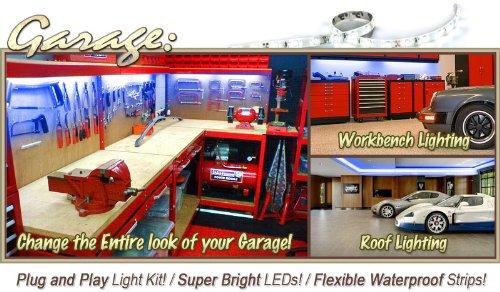 Biltek 2' ft Blue Backyard Deck Tool Bench On/Off Switch LED Strip Lighting SMD3528 Wall Plug New - Workbench Tool Box Roof Shed Truck Bed Home Gym Lamp Waterproof 3528 SMD Flexible DIY 110V-220V