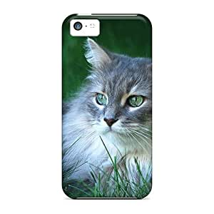 For NadaAlarjane Iphone Protective Case, High Quality For Iphone 5c Beautiful Long Haired Cat Skin Case Cover