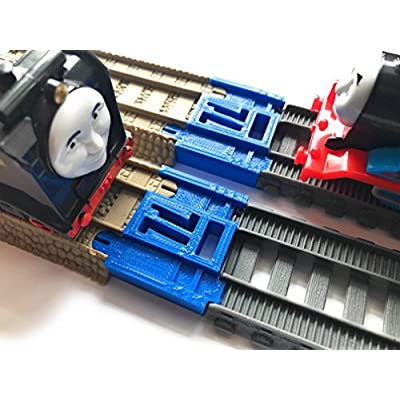 TrainLab Track Adapters Compatible with Trackmaster (Gray 2014+) to Trackmaster (Brown 2009) Train Tracks (2pc) (Blue): Toys & Games
