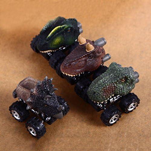 WOVELOT Cadeau pour la Journee des Enfants Jouet du modele de Dinosaure Mini Voiture Jouet Larriere de la Voiture Triceratops.