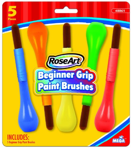 RoseArt Beginner Grip Bulb Paint Brushes, 5-Count, Packaging May Vary (CXV97) (Grip Paint Brush)