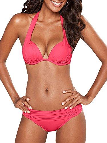 SySea Womens Push Up Halter Bikini Padded Top Ruched Traingle Two Piece Swimsuits Bathing Suits Bright Pink ()