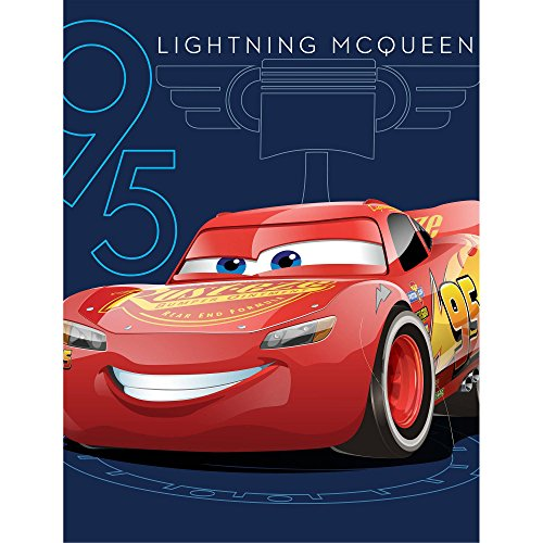 Lightning McQueen Cars 3 Race Track Fleece Blanket Throw (Racetrack Lightning Mcqueen)