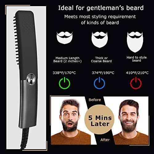 Peine alisador de barba rápido para hombres,plancha de pelo profesional,Profesional Peine de Peluquería Multifuncional Cepillo para Hombre Mujer (negro)