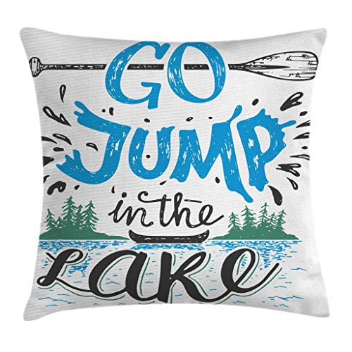 Ambesonne Cabin Decor Throw Pillow Cushion Cover by, Vintage Typography Inspiration Quote Lake Sign Canoe Fishing Sports Theme, Decorative Square Accent Pillow Case, 16 X 16 Inches, Blue Black Green
