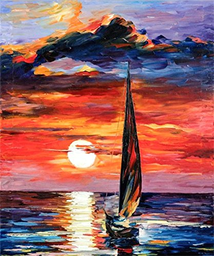 DIY 5D Diamond Painting by Number Kits, Crystal Rhinestone Diamond Embroidery Paintings Pictures Arts Craft for Home Wall Decor, Full Drill Oil painting The setting sun sailing The sea by KTCLCATF