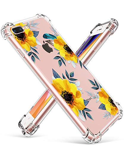 GVIEWIN Clear Case for iPhone 8 Plus/7 Plus, Flower Pattern Design Soft & Flexible TPU Ultra-Thin Shockproof Transparent…