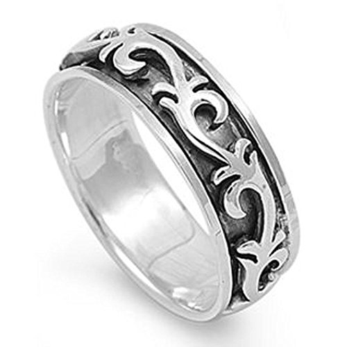 Double Accent Sterling Silver Art Deco Design Spinner Ring (Size 4 to 14) Size 4