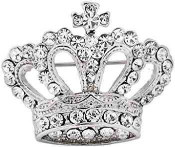 銀色 パーティ用 ブローチピン ビクトリア調 ラインストーン付 贈り物 王冠型