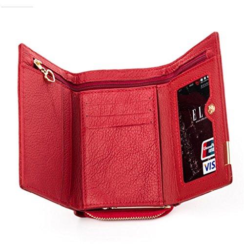 Haoling Main Red Mode Courte Femmes Petit Cuir à Portefeuille Sac Conception Patchwork Véritable Femmes Femme qqgAr
