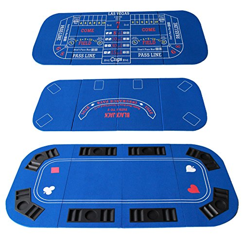 IDS Poker Casino Texas Hold'em Table Top for 3 in 1 (Poker/Blackjack/Craps) Folding Felt Carrying Bag