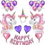 38pcs Cute Unicorn Balloons Birthday Baloon Party Decorations Kids Unicorn Party Favors Letter Foil Ballon (Powder Horse)