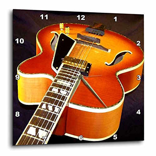 3dRose Jazz Guitar Wall Clock, 10 by 10-Inch
