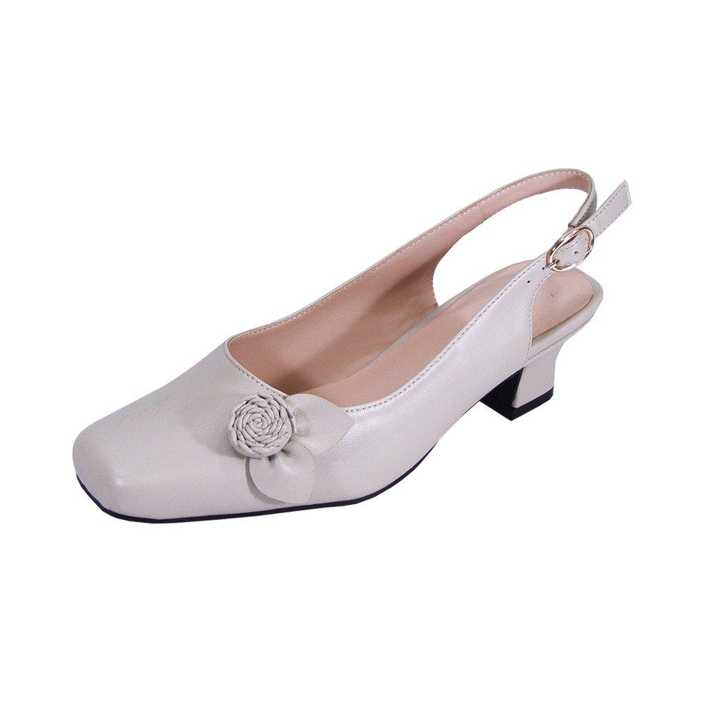 Peerage Cheryl Women Wide Width Slingback Comfort Dress Low Heel Shoes for Wedding, Prom, Evening, Work B07D314CJW 6.5 E|Beige