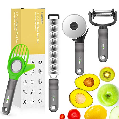 Peeler Set Fruit and Vegetable Peeler Avocado Slicer Cheese Zester Pizza wheel - LUXEAR Kitchen Tool Set Stainless Steel Blades Silicone Handle 4 Set Kitchen Utensil Peeler Shredder Essentials Set.