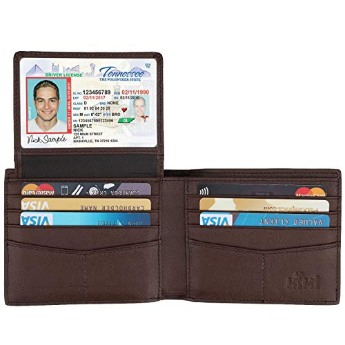 Wallet for Men-Genuine Leather RFID Blocking Bifold Stylish Wallet With 2 ID Window (Carbon Fiber Brown) (Extra Wide Wallet)