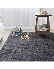 Bedsure Grey Carpet for Living Room, Non-Slip Shag Ara Rug, Fluffy Carpet for Bedroom - 4 x 5.3 Feet