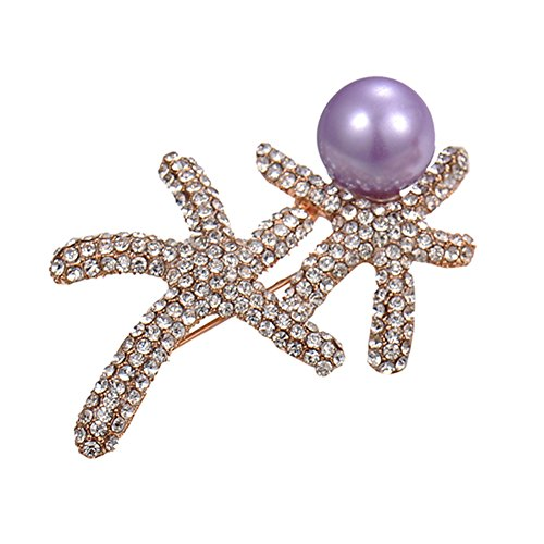 Per Starfish Brooch Pins Lively Style with Exquisite Detail 3.5x6cm-Purple (Starfish Adult Costume)
