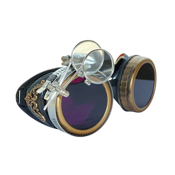 Handmade Steampunk Victorian Style Goggles with Vintage Filigree Decoration, Costume Novelty Accessory 3