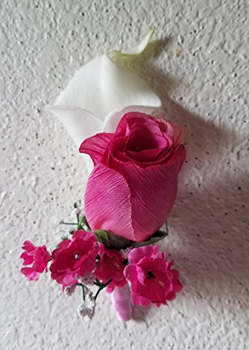 (Ivory Fuchsia Rose Calla Lily Corsage or)