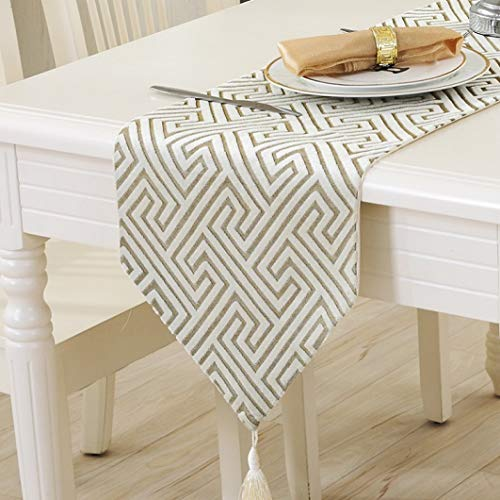 US-ROGEWIN Table Runners Tassels Modern Solid Maze Printed Textiles Quality Bed Side for Wedding Dinning Home Cafe Hotels Decor -