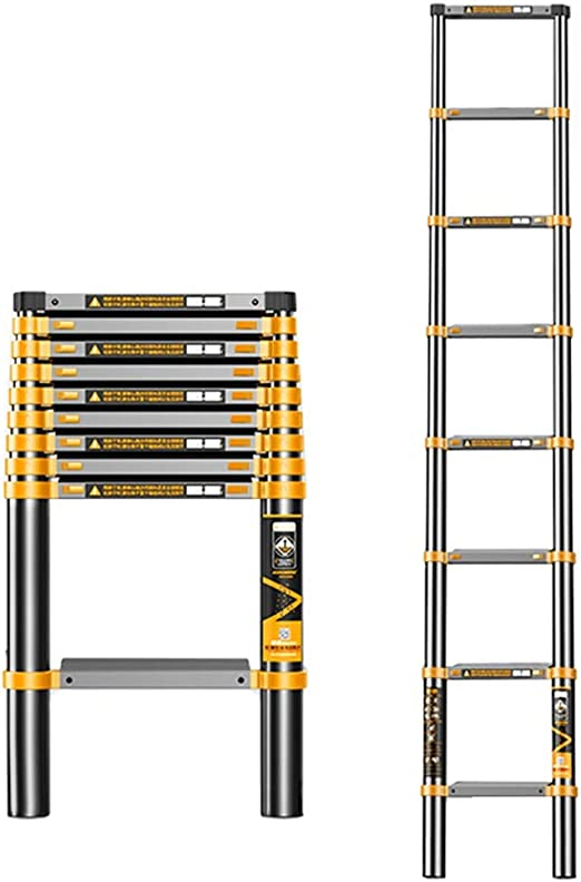 Escalera Telescópica Escalera telescópica Extensible de 2,3 m / 7,55 pies, Escalera Recta de extensión Plegable de Aluminio para Inicio Techo RV Actividades al Aire Libre, Carga 150 kg: Amazon.es: Hogar