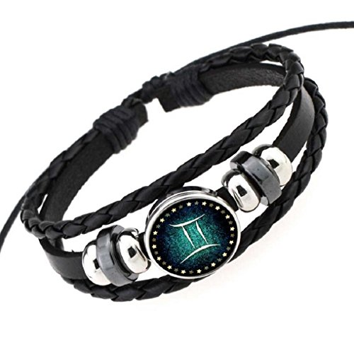Shepherds Costume Diy (Fariishta Jewelry Hand Braided Retro Constellation Gemini Leather Wrap Bracelet)