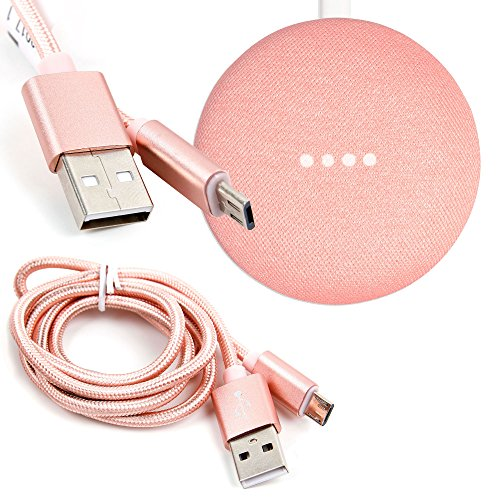 DURAGADGET Rose Gold Micro USB Data Sync Cable for the Google Home Mini