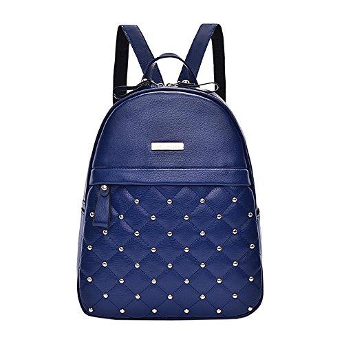 WTUS Mujer nuevo estilo de carteras y mochilas de Pu Bolsas para Mujer Azul