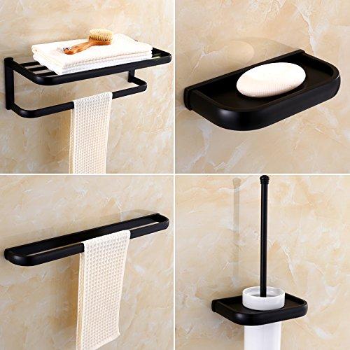 Four piece set 1 Mangeoo All European style black bath towel rack, antique bathroom rack set,Tissue box