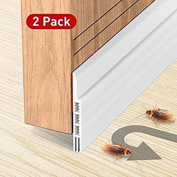 Holikme 2 Pack Door Draft Stopper Under Door Draft Blocker Insulator Door Sweep Weather Stripping Noise Stopper Strong Adhesive 39