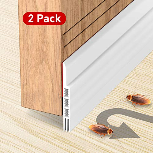 Holikme 2 Pack Door Draft Stopper Under Door Draft Blocker Insulator Door Sweep Weather Stripping Noise Stopper Strong Adhesive 39