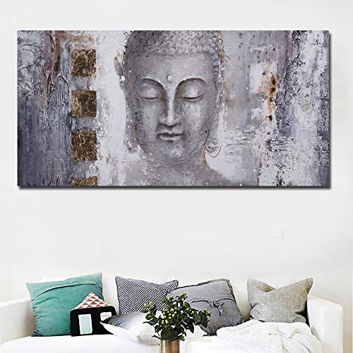 "Faicai Art Gray Gold Buddha Painting Canvas Wall Art Prints Posters Abstract Printings Pictures for Living Room Home Decor Modern Large Wall Decor for Home Office (Buddha, 20""X40"")"