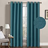 Teal Curtains H.Versailtex Premium Room Darkening Thermal Insulated Bedroom Curtains,Grommet Linen Look Primitive Curtain Panels,52 x 96 Inch-Teal Blue (Set of 1)