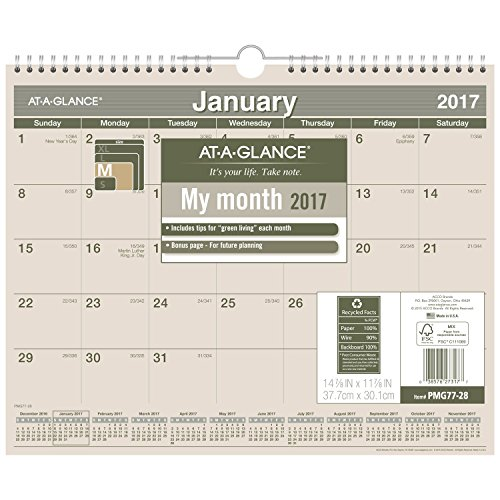 "AT-A-GLANCE Wall Calendar 2017, Monthly, Recycled, 14-7/8 x 11 7/8"", Wirebound (PMG77-28)"