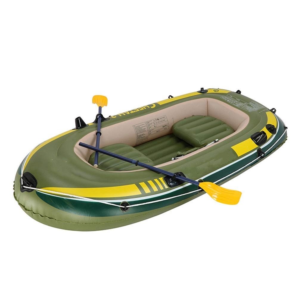 Durability Inflatable Kayaks Durable Rubber Rowing Boat PVC Net Three Thick Inflatable Fishing Boat Assault Boat Inflatable Boat Drifting Fishing (Color : Green, Size : 248x127CM) by BoeWan