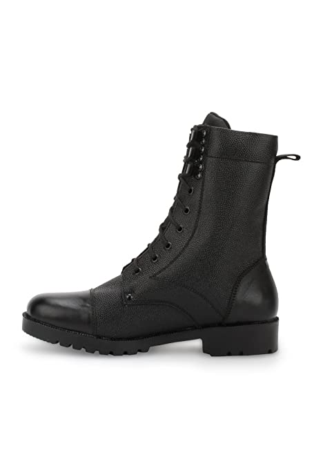 Black Leather High Ankle Boots (Aa-Dms3