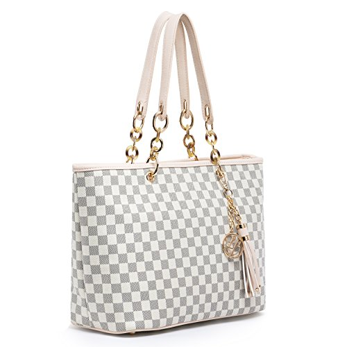 (GetThatBag) Limited Edition Lola Benson Starr Brown / Beige Damier / Logo Monogram Stars Tote Bag Shoulder Bag Shopper Handbag (L, Beige Damier (2 Pocket Shopper)