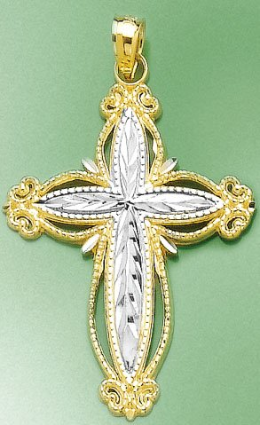 14k Two-tone Gold Charm Cross With Puffed Cut-out Edge & White ()