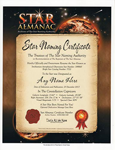 - (PRIME SHIPPING AVAILABLE) OFFICIAL NAME A STAR GIFT ALMANAC CERTIFICATE REGISTRATION AGENT - Dedicate A Star To Someone Special - A Great Personalized Keepsake