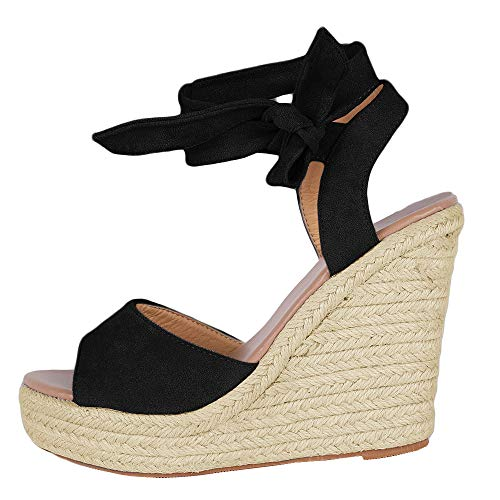 (Runcati Womens Espadrille Wedge Peep Toe Sandals Tie Up Summer Ankle Platform Shoes Slingback Dress Sandal )